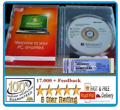 Windows 7 Home Premium (64) bit DVD + Genuine Product Label