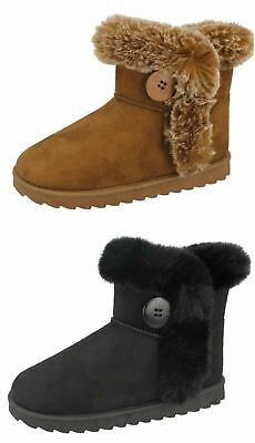 Spot On H4R142 Girls Ankle Boots Tan or Black Faux Suede UK 10 - 2 (R28A)