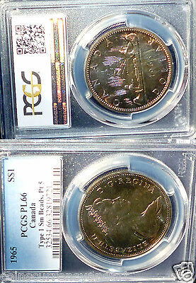 RAINBOW TONED Canada 1965  Silver Dollar -GORGEOUS COLOURS PCGS PL66