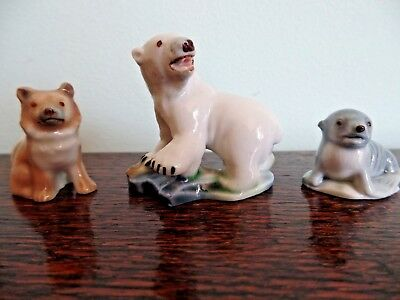 Wade Husky Polar Bear Baby Seal Whimsies 1950's Polar Animals Set 6 Excellent