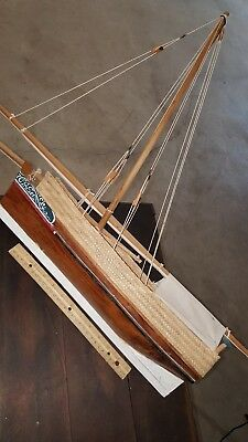 Wooden Model Sail Boat Pond Boat Look! Measures 24 Inches Long!