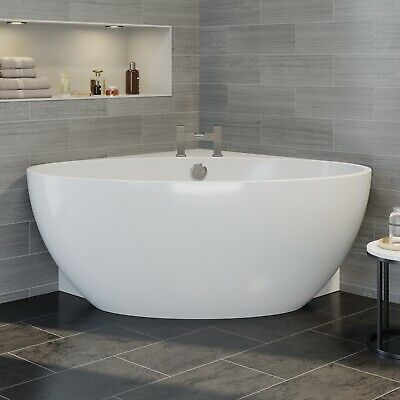 Fontaine Designer Corner Freestanding Bath Acrylic Bathtub 1510mm Built-In Waste