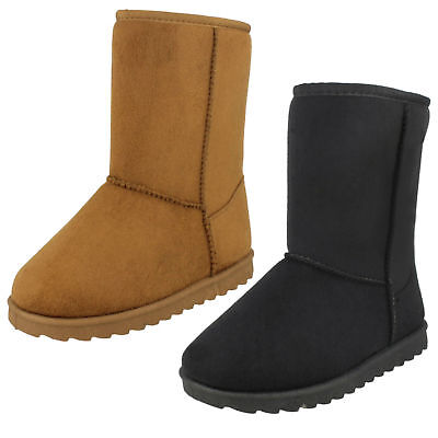 Spot On H4R141 Girls Tan or Black Faux Suede Ankle Boots (R28B)