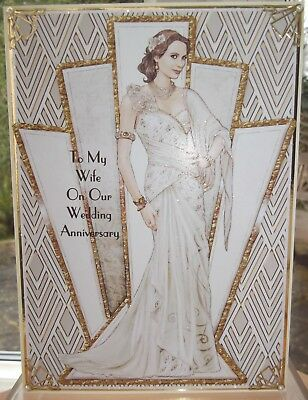 Handmade Art Deco personalised Anniversary wife card with a lady in ivory 2018