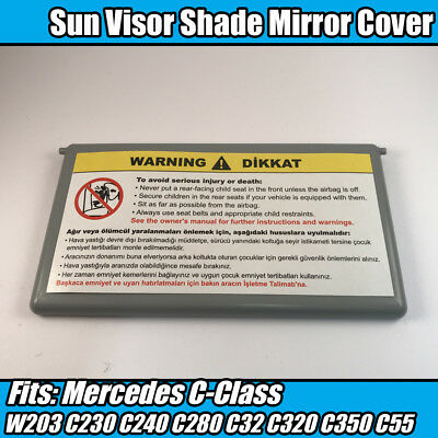 1x Sun Visor Shade Mirror Grey Cover Flip Cap For Mercedes C-Class W203 C230