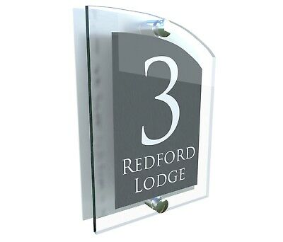 House Number Plaque Glass Effect Acrylic Sign Door Plate Name Anthracite