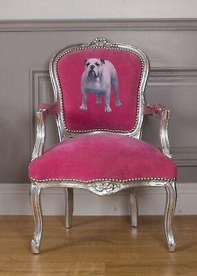 Job Lot 10x French Louis Armchair Pink Silver Shabby Hallway Bedroom Frame Chair