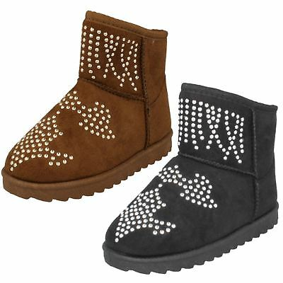Spot On H4R143 Girls  Tan or Black Faux Suede Ankle Boots (R26B) J-K