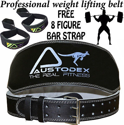 """Austodex 6"""" Weight lifting bodybuilding back support weightlifting Leather Belt"""