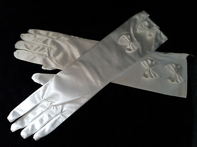 Long Soft Ivory Satin Wedding Gloves With Bows Bride Bridesmaid Prom