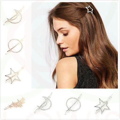 Women's Rhinestone Crystal Geometric Hair Clips Clamps Hairpin Barrette Slides