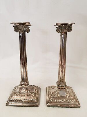 Pair Antique Sheffield Silver on Copper Neo-classical Taper Candlesticks