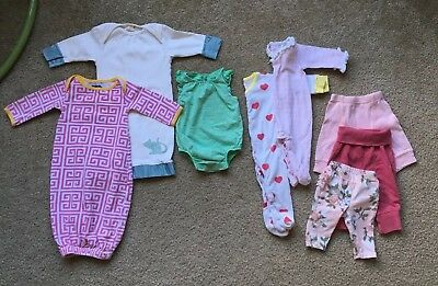 LOT of 8 Items Baby Girl 0-3 Months Boutique Pajamas Pants Gowns H&M Mudpie Gap