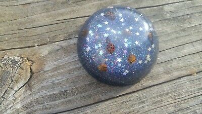 handmade real ladybug resin paper weight with stars an glitter