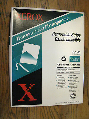 Xerox 3R3108 Removable Stripe Laser Copier Transparencies Clear 95 Sheets Opened