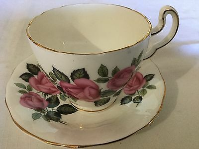 Mayfair Bone China Cup And Saucer England    White/pink Roses