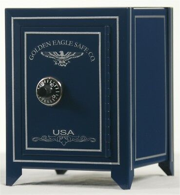 Minature Safe Coin Bank With Combo Lock-Blue With Light Gold Stripe & Logo
