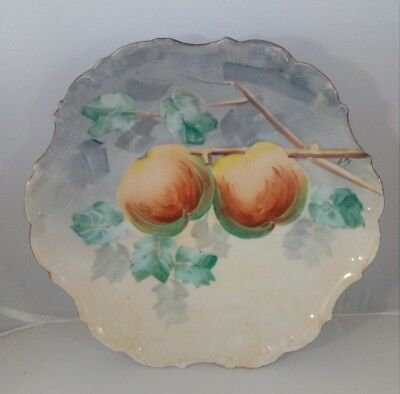 Antique Limoges France Flambeau hand painted fruits signed charger plate