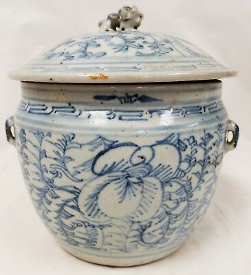 Antique Chinese or Southeast Asian Blue & White Covered Pot Foo Dog Lion