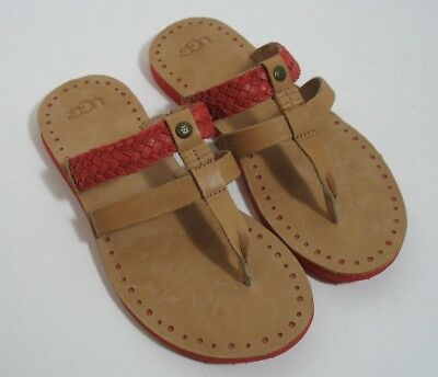 47e52cd518a UGG Australia AUDRA Braided Leather Flip Flop Sandals Womens 6 Tomato Soup  NWOB