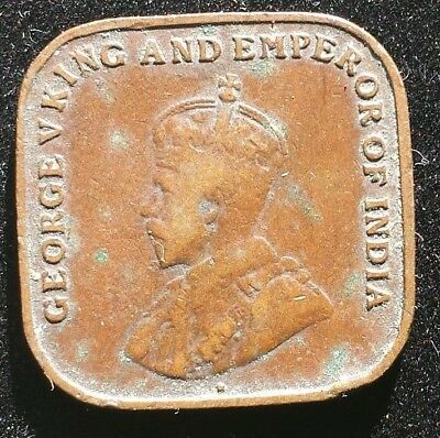 Straits Settlements 1920 Square Bronze Coin King George British Empire Cent Thic