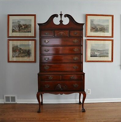 KINDEL Oxford Mahogany Chippendale High Boy Chest
