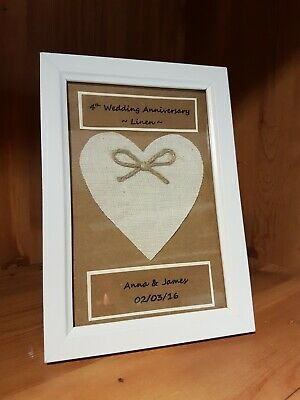 Personalised 4th 12th Wedding Anniversary Frame Gift Linen Anniversary 10 00 Picclick Uk
