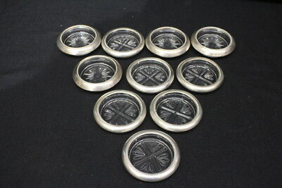 Lot of 10 Round Frank M Witing & Co Sterling Silver Rim Glass Drink Coasters