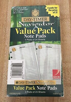 Day-Timer Navigator Pack of 4 Note Pads 11452 Portable Size NEW