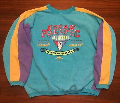 Ocean Pacific -1992 - Over Sized Beach Sweatshirt - Color Block - Vintage