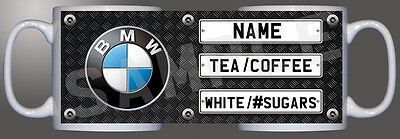 BMW logo number plate checkered diamond personalised printed mug D1