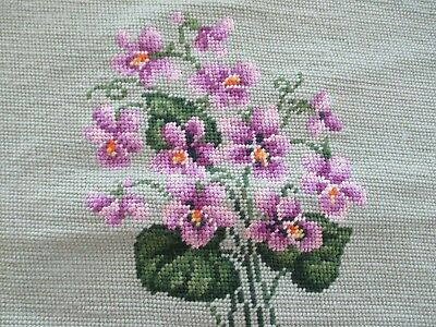 VTG WOOL Needlepoint Chair Stool Seat Pillow CoveR VIOLETS FLORAL NEAR  Complete