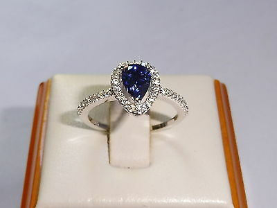 Ladies Solid 925 Sterling Silver Pear Cut Tanzanite & White Sapphire Dress Ring