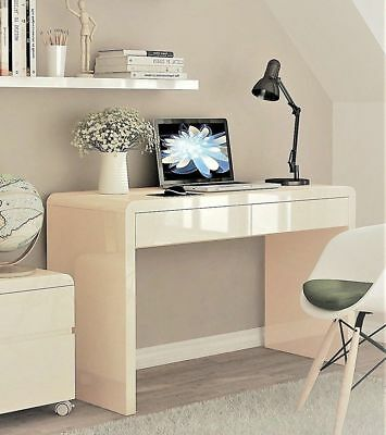 High Gloss Dressing Table Modern Vanity Console Home Desk Furniture Drawer Cream