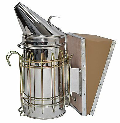 New Large Bee Hive Smoker Stainless Steel w/ Heat Shield Beekeeping Equipment
