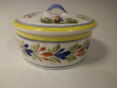 Vintage Henriot Quimper Butter / Cheese Dish with Lid (France 1984)