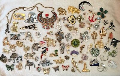 Lot of 80 Pc Vintage Brooches PINS Some RHINESTONE Enamel Mixed Brass Necklace