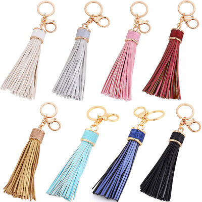 Womens Leather Tassels Keychain Purse Bag Buckle HandBag Pendant KeyringGxn