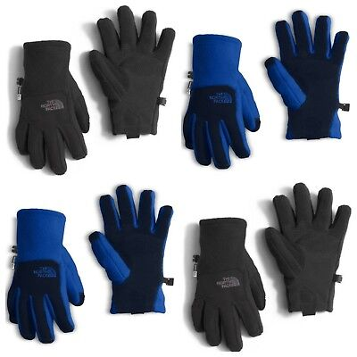 NEW The North Face Boys Denali Etip Gloves Blue Black NWT SIZE S, M, L