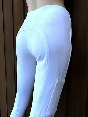 Ladies White Silicone Grip Riding Tights Lycra Horse Riding Tight