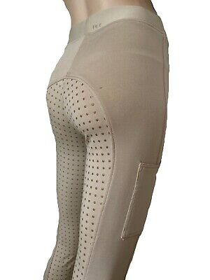 Girls Beige Silicone Grip Riding Tights Childrens Lycra Riding Leggings