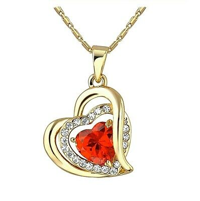 Christmas Gift Zirconia Double Heart Pendant Necklace w/ Beautiful Gift Box Red