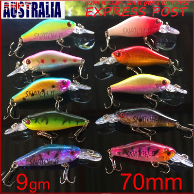 10 Bream & Redfin Fishing Lures, Bass, Yellow belly, Flathead, Perch, Trout, 7cm