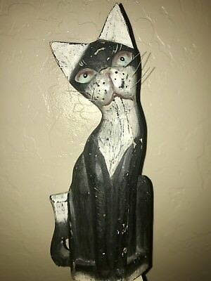 Folk Art Hand Carved Indonesia Hand Painted Balinese Wood Carving Cat Kitty