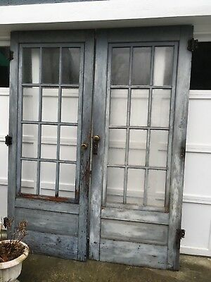 Antique Wood Farm Glass 12 Pane Storm or French Door Salvage Hardware included