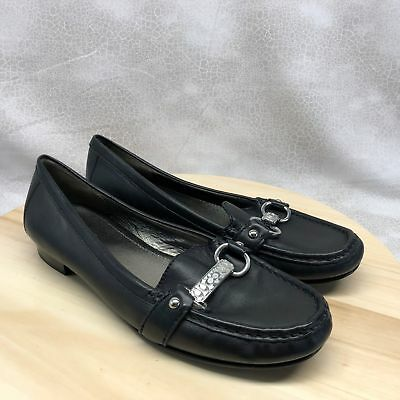 dffcd1351f5 Coach Horse Bit Loafer Eileen Women s Black Leather Slip On Shoes Size 8B  (DG16)