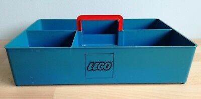 Lego Storage Box Tray Retro Vintage Blue with Red Handle 70's 1970