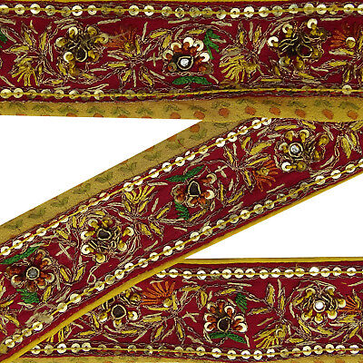 Vintage Indian Embroidered Sari Antique Border Red Ribbon Sewing Used 1Yd Trim.