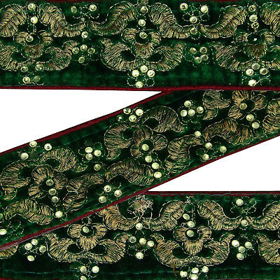 Vintage Indian Sari Border Green Embroidered Antique Used Ribbon Sewing Trim.