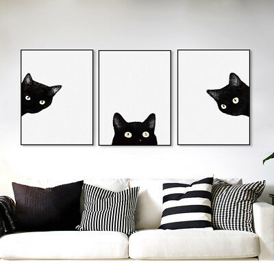 AL_ 3Pcs Modern Black Cat Canvas Wall Painting Poster Art Home Decor Unframed Fa